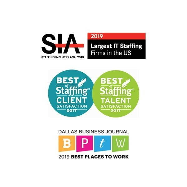 SIA Best Staffing firms, ClearlyRated Best of Staffing Client and Talent, TAPFIN Elite partner, Zero Chaos logos